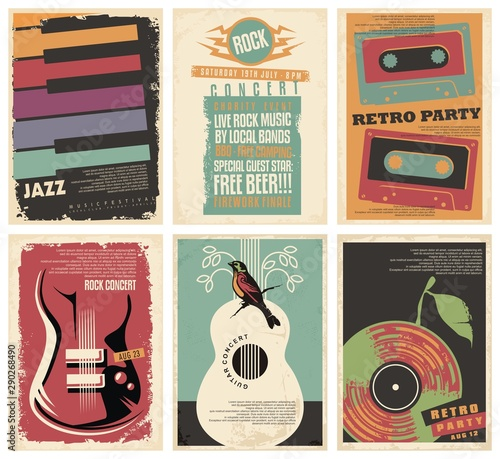 Plakat Rustykalny  vintage-collection-of-musical-posters-flyers-set-for-retro-parties-rock-and-jazz-concerts