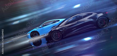 Two high speed sports cars in motion, racing (3D Illustration)