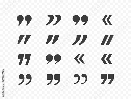 Obraz Quote mark graphic elements set isolated on transparent background. Vector quotation, speech, discussion icons. - fototapety do salonu