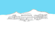 Yerevan Armenia Skyline Panorama Vector Sketch