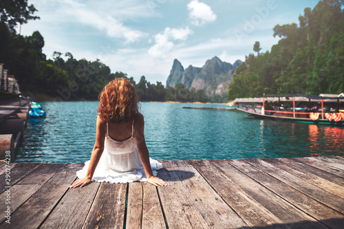 Poster Detente Woman Yoga - relax in nature