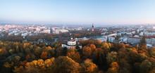 Aerial Panorama Of Fall Foliag...