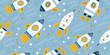 Childish seamless pattern with hand drawn rockets