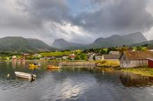 A Norwegian Fjord Scene. The Small Village Of Rygg In Gloppefjorden, Nordfjord - NORWAY