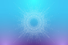 Abstract Plexus Background With Connected Lines And Dots. Circular Molecule Or Communication Banner Background. Graphic Background For Your Design. Lines Plexus Big Data Visualization Vector