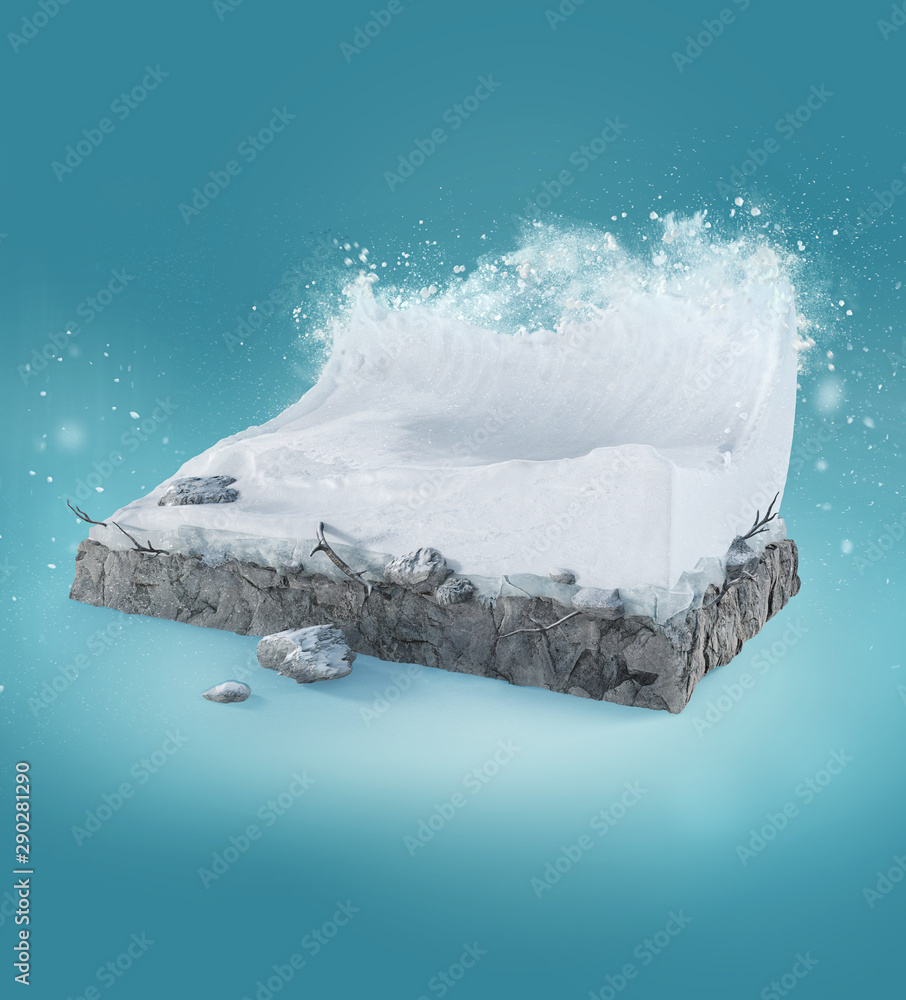 Fototapety, obrazy: Travel and vacation background. 3d illustration with cut of the ground and the beautiful snow wave. Baby wave isolated on blue.