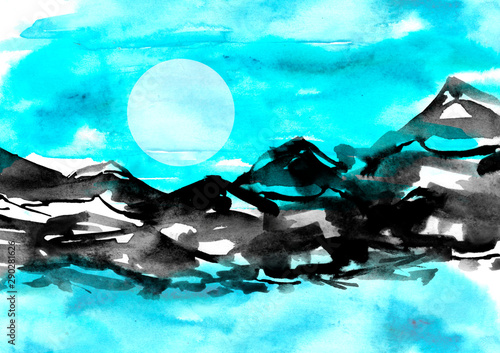Fotobehang Turkoois Watercolor drawing with a mountain landscape. The peak of the mountain, the rock, the canyon. A blue sky,lake, river, water a splash of paint.Lunar eclipse, the moon is not sky.Postcard, picture, logo