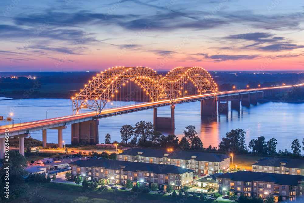 Fototapety, obrazy: Memphis, Tennessee, USA at Hernando de Soto Bridg
