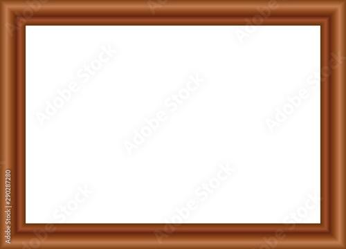Cuadro de madera marrón oscuro sobre fondo blanco. Canvas Print