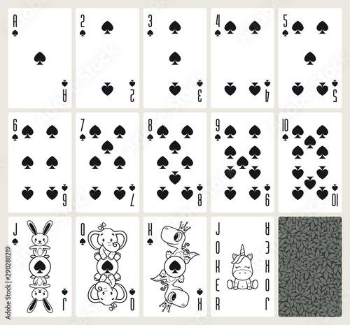 Fototapeta Vector baby poker playing cards with animals. Spades suit. Original design deck. Vector illustration obraz na płótnie