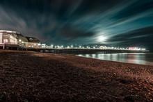 Seaside Town Pier Night Landscape
