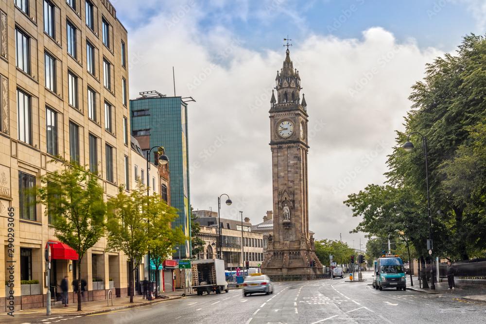 Fototapety, obrazy: Albert Memorial Clock Tower in Belfast, Northern Ireland