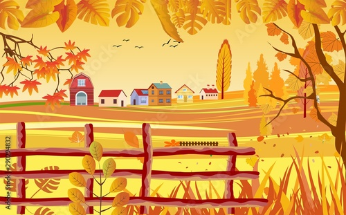 landscapes of Countryside in autumn. mid autumn with field, farm houses, grass, fence and leaves falling from trees in yellow foliage. Pretty landscape in fall season.