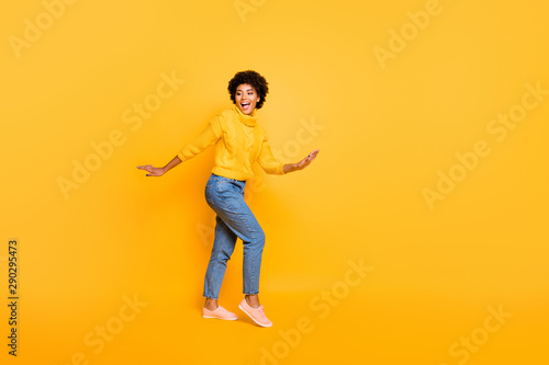 Fototapety, obrazy: Full length body size view of nice attractive charming lovely cheerful cheery funky wavy-haired girl having fun time isolated over bright vivid shine vibrant yellow color background