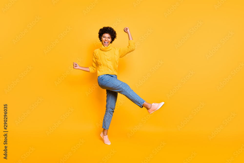 Fototapety, obrazy: Full length body size view of her she nice attractive charming cheerful cheery ecstatic wavy-haired girl celebrating luck having fun isolated on bright vivid shine vibrant yellow color background