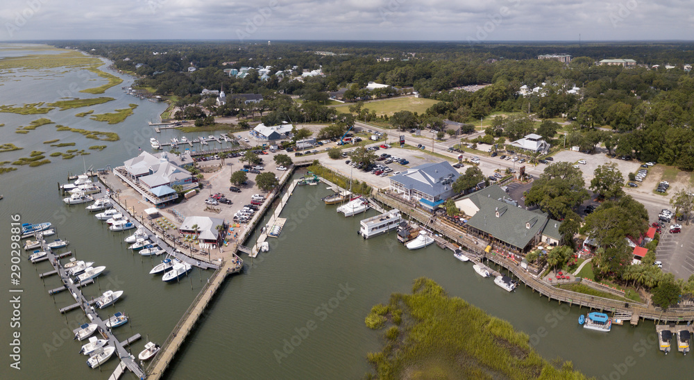 Fototapety, obrazy: Aerial view of the waterfront with restaurants and marina in Murrells Inlet, South Carolina.