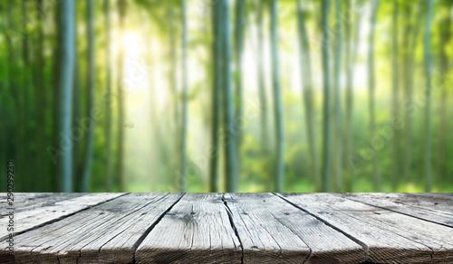 Montage in der Fensternische Olivgrun Empty old wooden table background