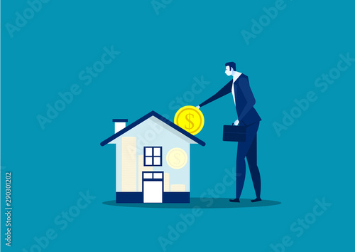 Fotomural  Save money for house property by businessman vector illustrator