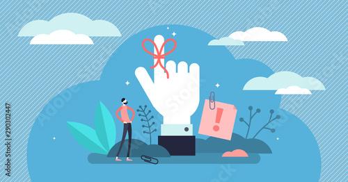 Obraz Reminder vector illustration. Flat tiny string around finger person concept - fototapety do salonu