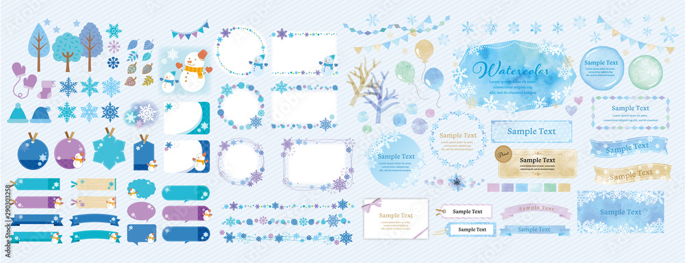 Fototapety, obrazy: Winter theme / blue color winter frame and background set