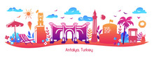 Bright Modern Vector Illustration Antalya, Turkey.  Horizontal Panoramic Scene Of Famous Turkish Symbols And Landmarks. Travel Card, Poster, Print Design In Flat Style With Colorful Gradient.
