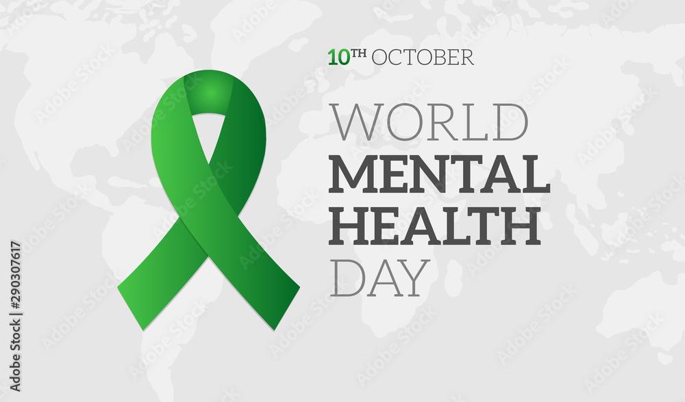 Fototapety, obrazy: World Mental Health Day Background Illustration Banner