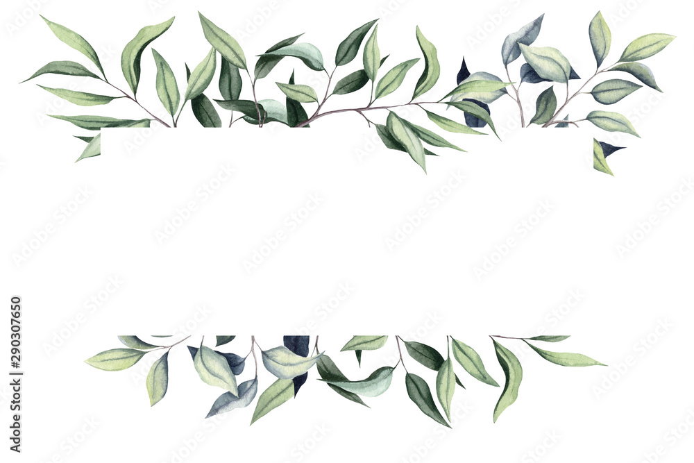 Fototapety, obrazy: Simple Frame with Watercolor Eucalyptus