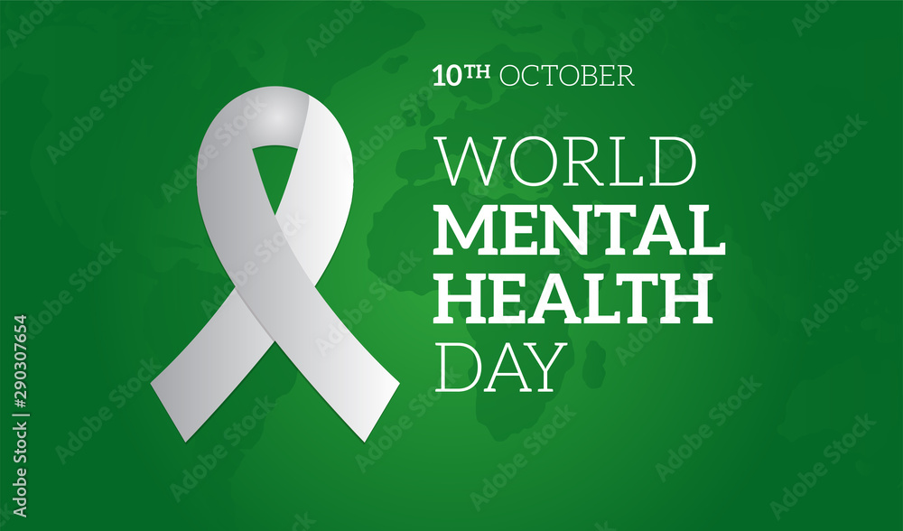 Fototapeta World Mental Health Day Green Background Illustration with Ribbon