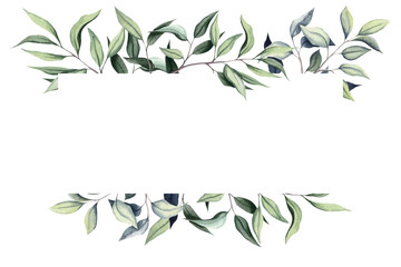 Simple Frame with Watercolor Eucalyptus