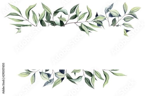 Simple Frame with Watercolor Eucalyptus Fototapeta