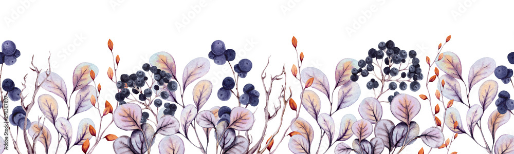 Fototapety, obrazy: Seamless Border of Watercolor Autumn Leaves and Berries