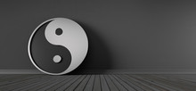 Yin Yang Symbol Silver And Black - 3D Illustration