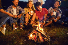 Campfire Travel Picnic Camping Trip Concept.