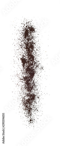 Poster koffiebar Falling ground coffee powder isolated on white background