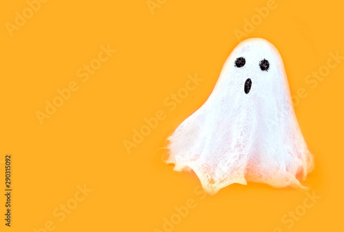 Halloween white spooky ghost spirit on orange backgrounds Canvas Print