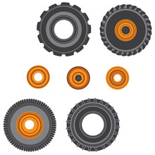 Set Of Tires And Orange Disk For A Tractor Vector