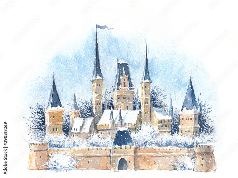 Fototapeta Watercolor winter medieval castle in the snow, New Year, Christmas, fairy tale, magic.