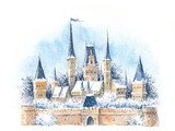 Watercolor winter medieval castle in the snow, New Year, Christmas, fairy tale, magic.