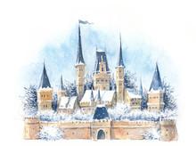 Watercolor Winter Medieval Cas...