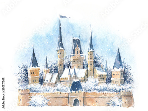 Fototapeta  Watercolor winter medieval castle in the snow, New Year, Christmas, fairy tale, magic