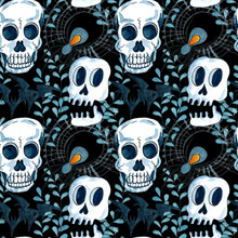 Watercolor Halloween Seamless Pattern. Hand Drawn Halloween Holiday Composition With  Spider, Scull, Bat And Web On Black Background.