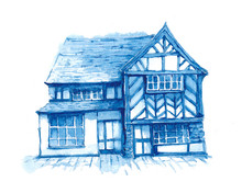 Picture With Watercolor Old English Houses In Vintage Victorian Style.
