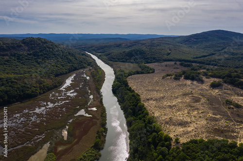 Foto auf Gartenposter Forest river View of drone to the beautiful river Ropotamo in Strandja mountain
