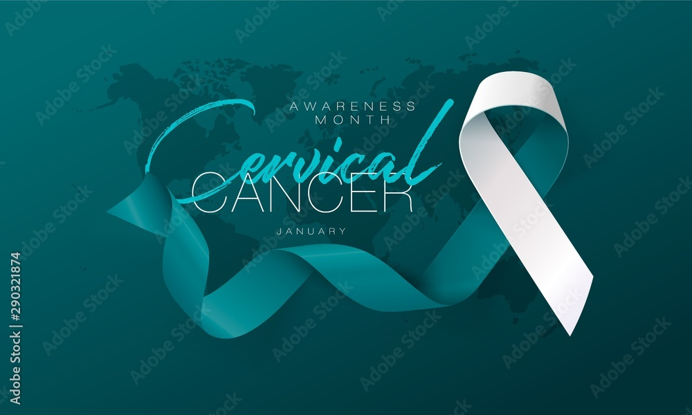 Fototapeta Cervical Cancer Awareness Calligraphy Poster Design. Realistic Teal and White Ribbon. January is Cancer Awareness Month. Vector. Illustration