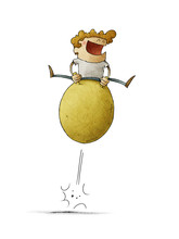 Illustration Of Smiling Boy Having Fun Jumping On A Hopper Ball. Isolated