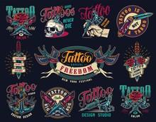 Tattoo Studio Colorful Vintage...