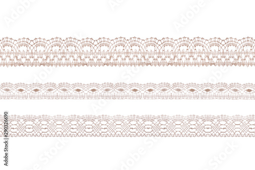 Valokuvatapetti Pastel color lace ribbons isolated shot