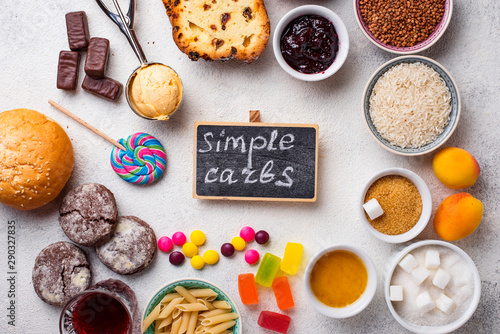 Fotomural Assortment of simple carbohydrates food