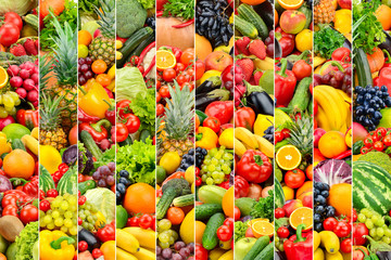 Background vegetables and fruits divided vertical lines