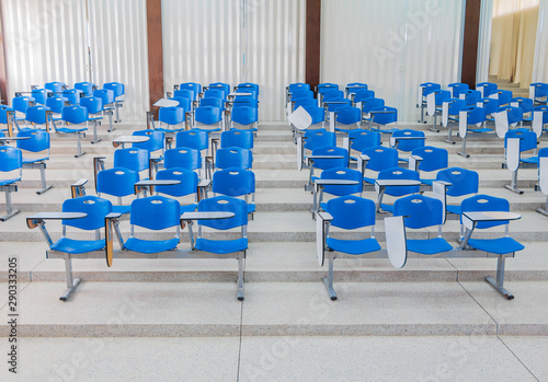 Row Lecture Chair Plastic Blue In Class Meeting Room On